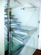 Suspended 3 flight glass and stainless steel stairs for private client in Hollywood Rd, Chelsea, London